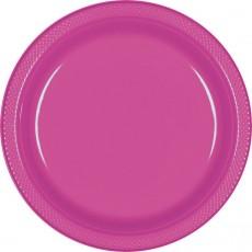 Round Magenta Plastic Dinner Plates 22.9cm Pack of 20