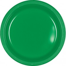 Festive Green Plastic Banquet Plates 26cm Pack of 20