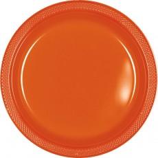 Round Orange Plastic Banquet Plates 26cm Pack of 20