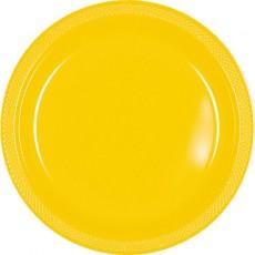 Round Sunshine Yellow Plastic Banquet Plates 26cm Pack of 20