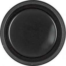 Round Jet Black Plastic Banquet Plates 26cm Pack of 20