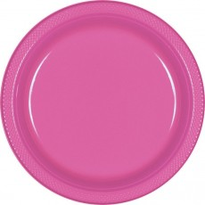Round Bright Pink Plastic Banquet Plates 26cm Pack of 20