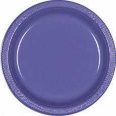 Round New Purple Plastic Banquet Plates 26cm Pack of 20