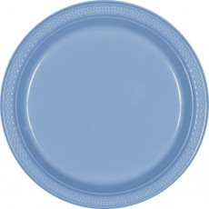 Round Pastel Blue Plastic Banquet Plates 26cm Pack of 20