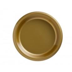 Round Gold Sparkle Plastic Banquet Plates 26cm Pack of 20