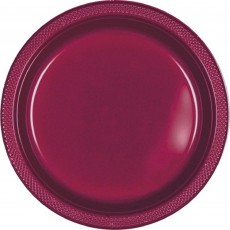 Round Berry Red Plastic Banquet Plates 26cm Pack of 20