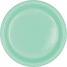 Round Cool Mint Green Plastic Banquet Plates 26cm Pack of 20