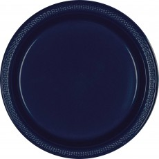 Blue Navy Plastic Banquet Plates