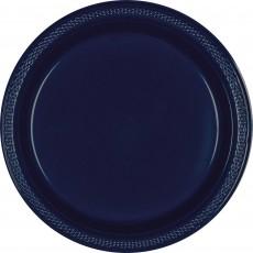 Navy Blue Plastic Banquet Plates 26cm Pack of 20