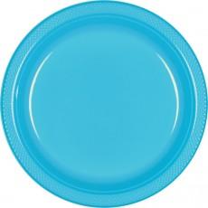 Round Caribbean Blue Plastic Banquet Plates 26cm Pack of 20