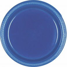 Round Navy Flag Blue Plastic Banquet Plates 26cm Pack of 20