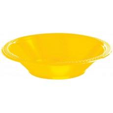 Round Sunshine Yellow Plastic Bowls 355ml Pack of 20