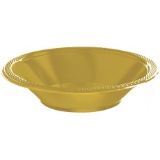 Round Gold Sparkle Plastic Bowls 355ml Pack of 20
