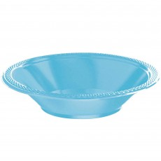 Round Caribbean Blue Plastic Bowls 355ml Pack of 20