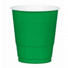 Festive Green Plastic Plastic Cups 355ml Pack of 20