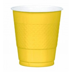 Sunshine Yellow Plastic Cups 355ml Pack of 20