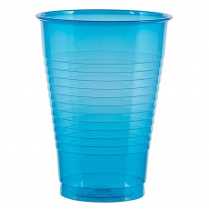 Neon Blue Plastic Cups 473ml Pack of 50