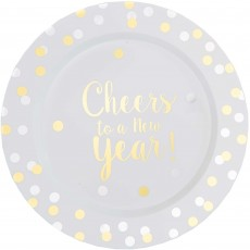 Round Cheers to a New Year Lunch Plates 19cm Pack of 20