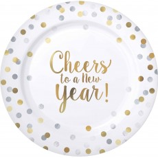 Round Cheers to a New Year Banquet Plates 26cm Pack of 10
