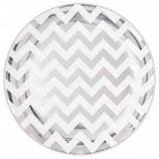 Chevron Design Silver Premium Plastic Banquet Plates