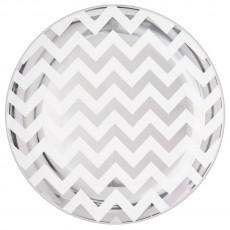 Round Silver Chevron Design Premium Plastic Banquet Plates 26cm Pack of 10