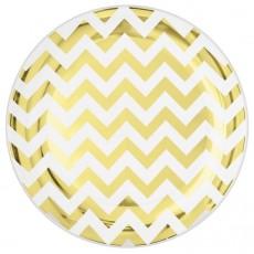Chevron Design Gold Hot Stamped Banquet Plates