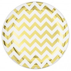 Round Gold Chevron Design Premium Plastic Banquet Plates 26cm Pack of 10