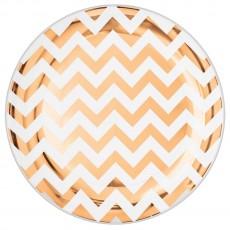Round Rose Gold Chevron Design Premium Plastic Banquet Plates 26cm Pack of 10