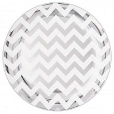 Round Silver Chevron Design Premium Plastic Banquet Plates 19cm Pack of 20