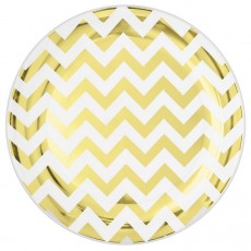 Chevron Design Gold Premium Plastic Lunch Plates