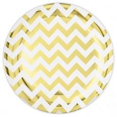 Round Gold Chevron Design Premium Plastic Lunch Plates 19cm Pack of 20