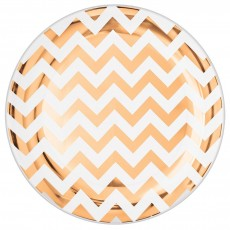 Chevron Design Rose Gold Premium Plastic Lunch Plates