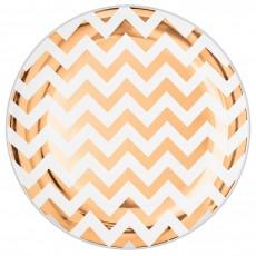 Round Rose Gold Chevron Design Premium Plastic Lunch Plates 19cm Pack of 20