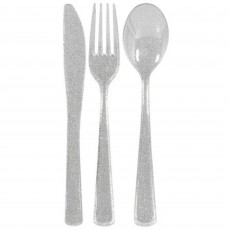Glittering Silver Premium Cutlery Sets Pack of 48