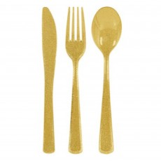 Glittering Gold Premium Cutlery Sets Pack of 48