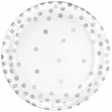 Round Silver Dots Paper Lunch Plates 15cm Pack of 20