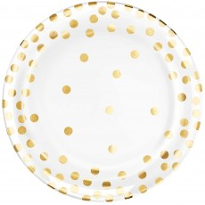 Dots Gold Gold  Paper Lunch Plates