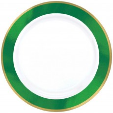 Green White with Festive  Border Premium Dinner Plates