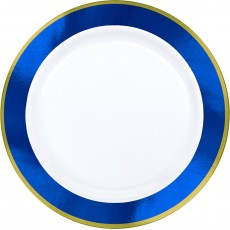 Blue Bright Royal Border on White Premium Dinner Plates