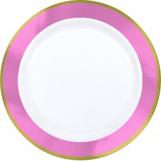 Pink Premium White with New  Border Dinner Plates