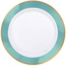 Blue Robin's Egg Border on White Premium Dinner Plates