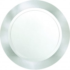 Clear Premium with Silver Border Dinner Plates