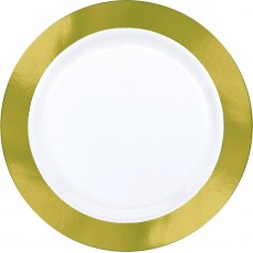 Gold Party Supplies - Dinner Plates Premium Plastic with Gold Border