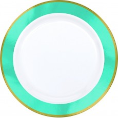 Blue Caribbean Border on White Premium Dinner Plates