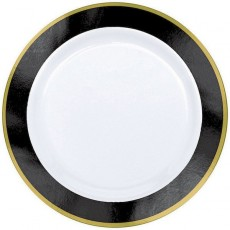 Black Jet Border on White Premium Lunch Plates