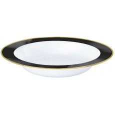 Black Jet Border on White Premium Bowls