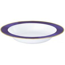 White with New Purple Border Premium Plastic Bowls 354ml Pack of 10