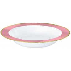 White with New Pink Border Premium Plastic Bowls 354ml Pack of 10