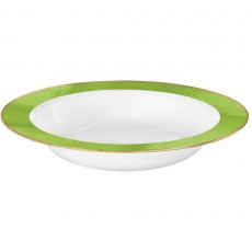 White with Kiwi Green Border Premium Bowls 354ml Pack of 10