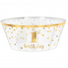 Girl's 1st Birthday Hot-Stamped Large Plastic Serving Bowl